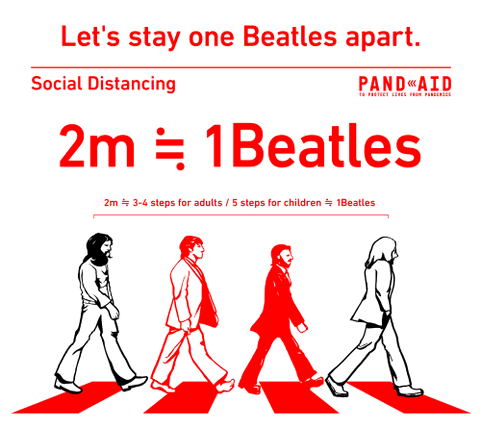 Illustrated poster of the Beatles in the crosswalk with two members drawn in all red to show distance