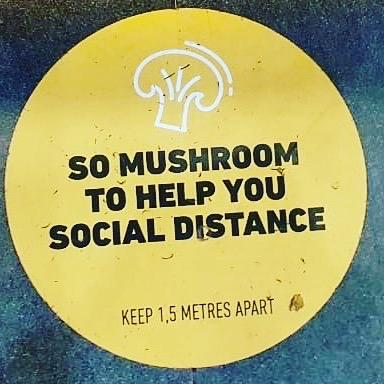 Floor decal that says, so mushroom to help you social distance