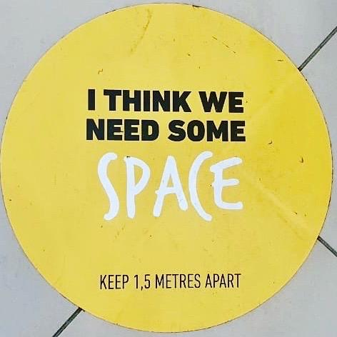 Floor decal that says: I think we need some space