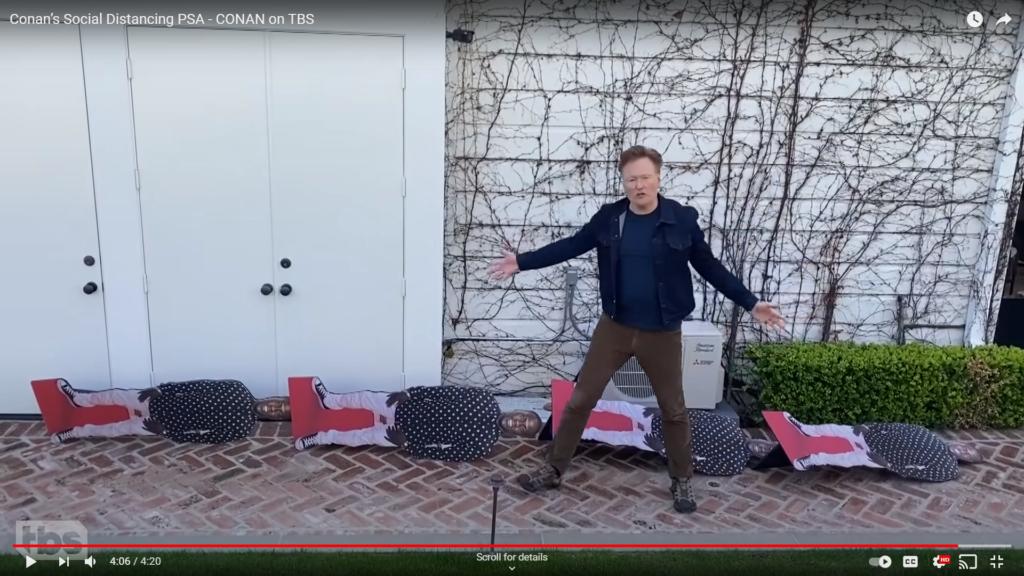 YouTube screenshot of Conan O'Brien showing four Kevin Hart cutouts