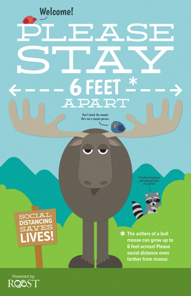 Illustrated poster of a moose saying the distance of the antlers is six feet across