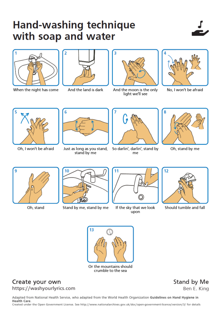 Handwashing how-to guide set to the lyrics of Stand By Me, by Ben E. King