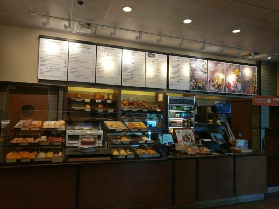 Picture of Panera Bread's crowded and overwhelming ordering counter