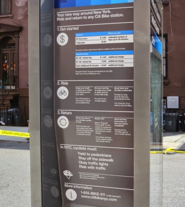 Former Citibike kiosk that is VERY text heavy with no infographics