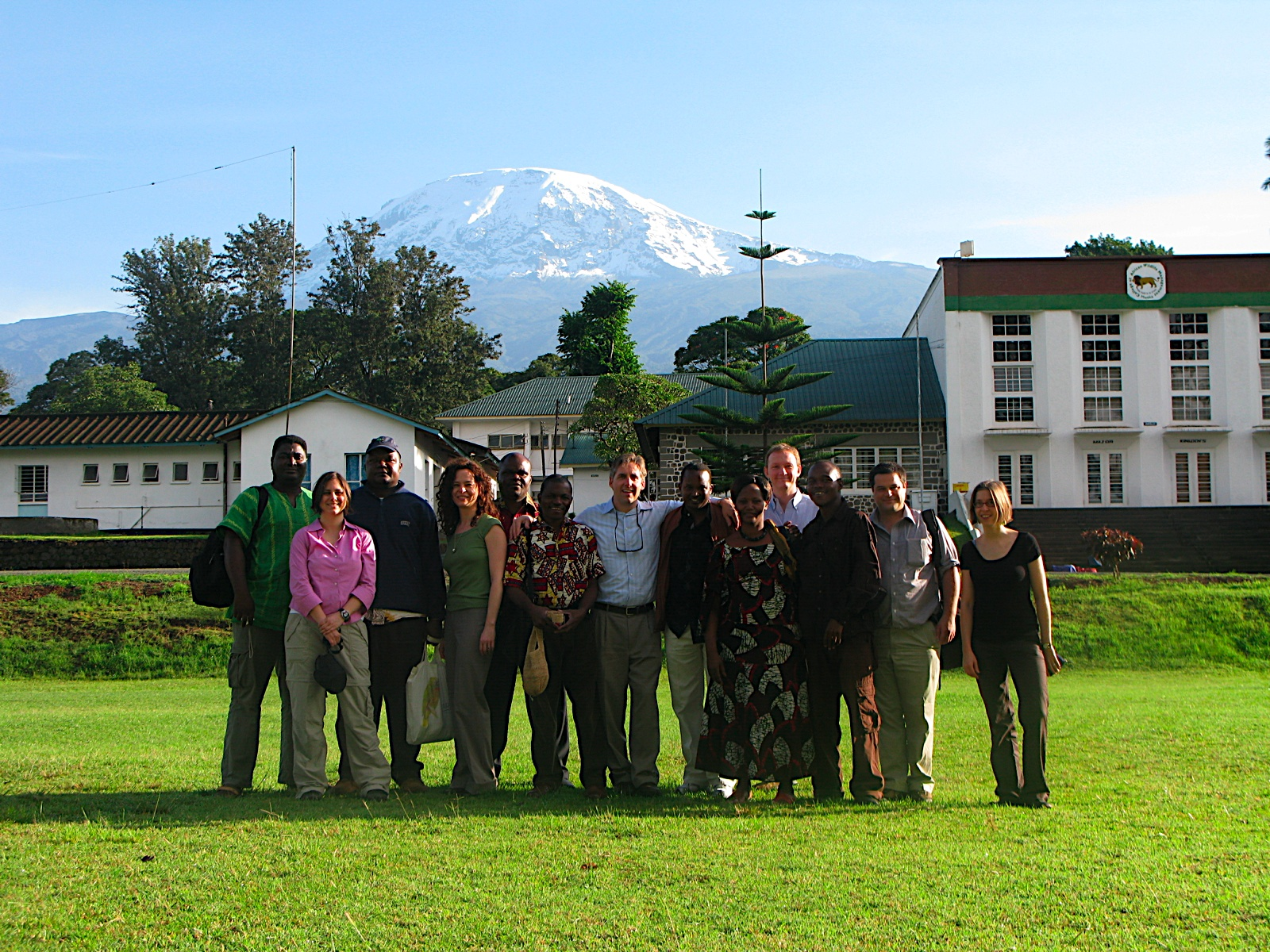 The core workshop group at Mweka College in 2008. That's me on the left and Mt. Kilimanjaro in the background.