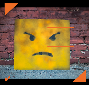 sign board with angry emoji face