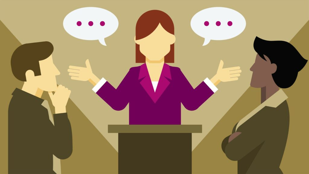 Person holding a debate style conversation with two colleagues