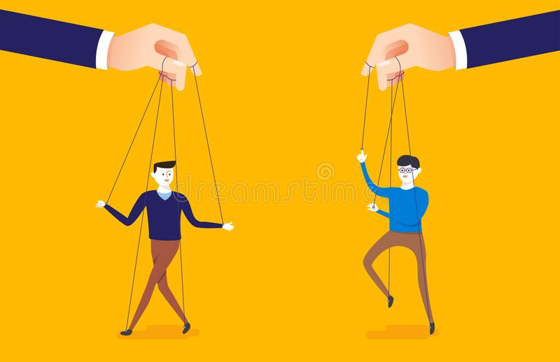 Two people being held by strings like puppets with hands controlling them